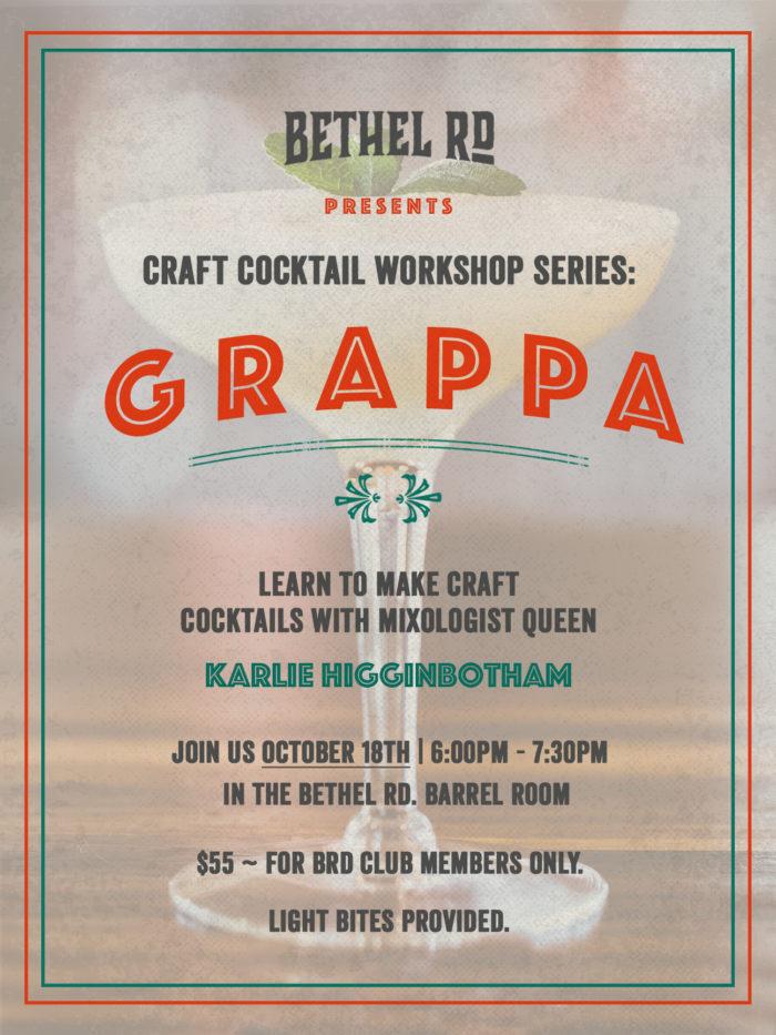 image for Craft Cocktail Workshop : Grappa!